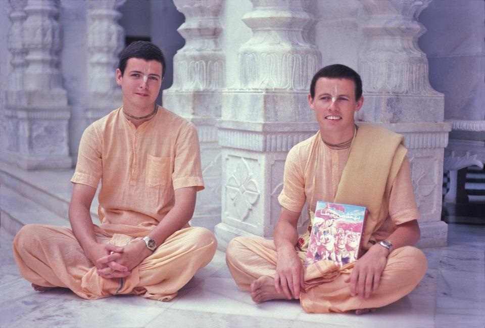 Tribhuvannatha Prabhu with Padmapani das holding Arabic translation of Bhagavad-gita