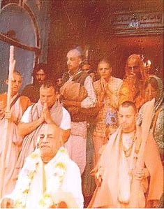 Srila Prabhupada leaving the Valencia St. temple in San Francisco, 1974